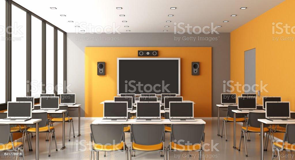 Contemporary multimedia classroom vector art illustration
