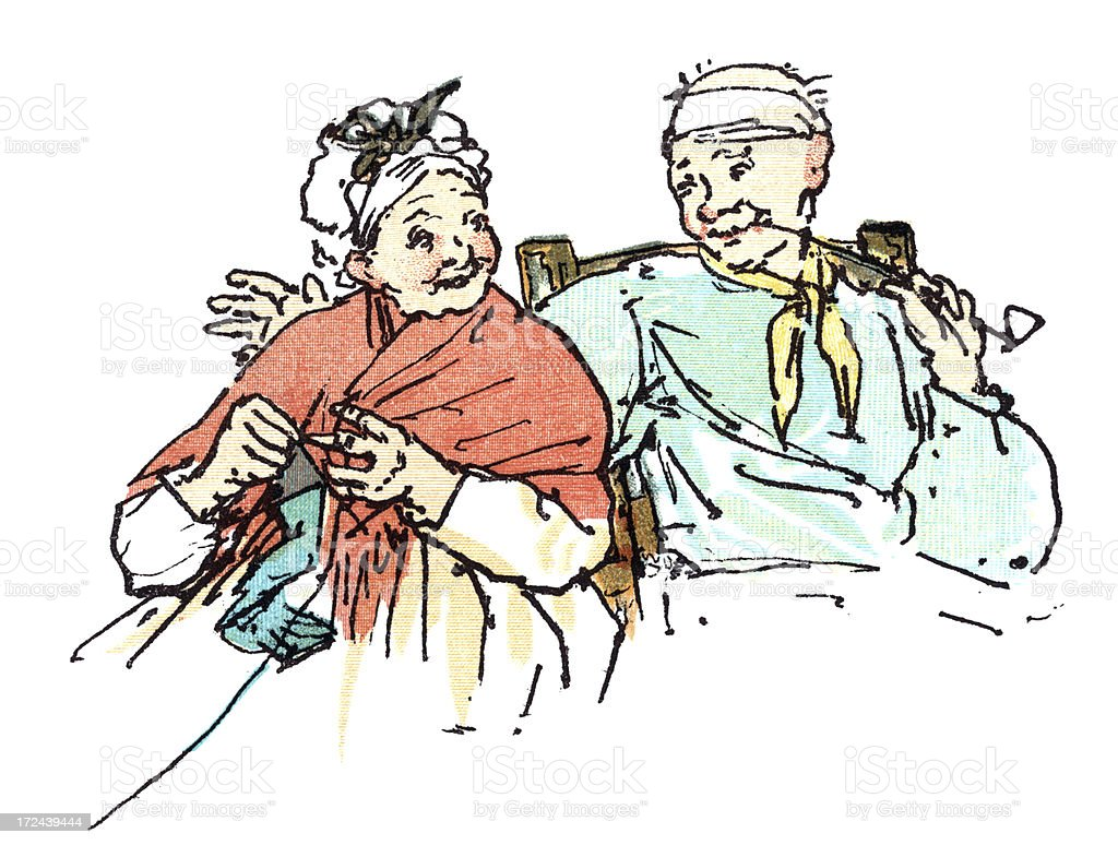 Contented old couple royalty-free stock vector art