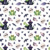 istock Contrast hand-drawn Halloween seamless pattern. 1320665615