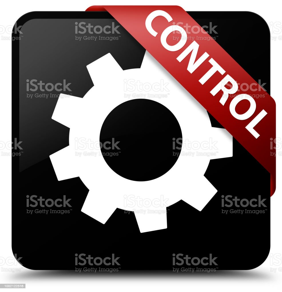 Control Black Square Button Red Ribbon In Corner Stock Illustration Download Image Now Istock
