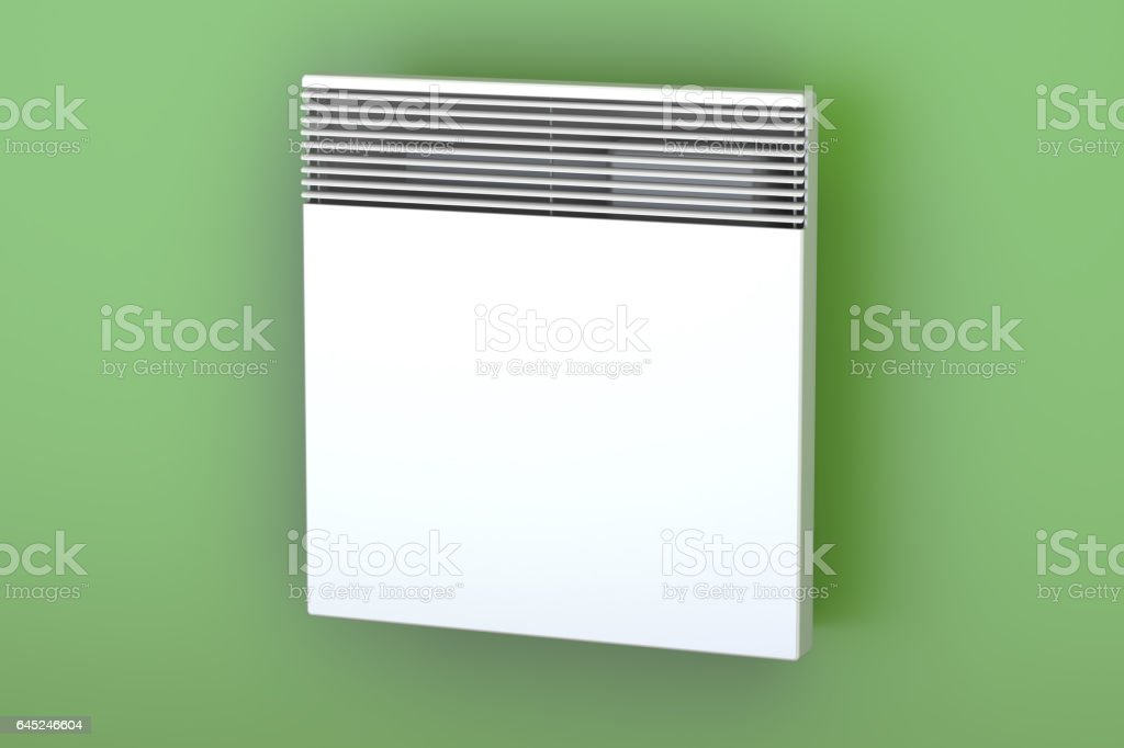 Convection heater on the wall, 3D rendering vector art illustration