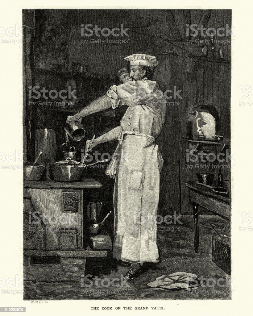 Cook of the Grand Vatel, New York, 19th Century vector art illustration