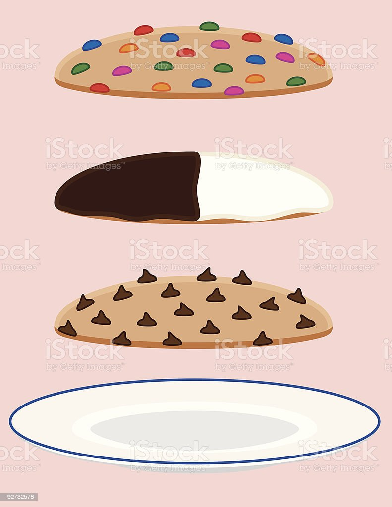 Cookie Collection with Plate vector art illustration