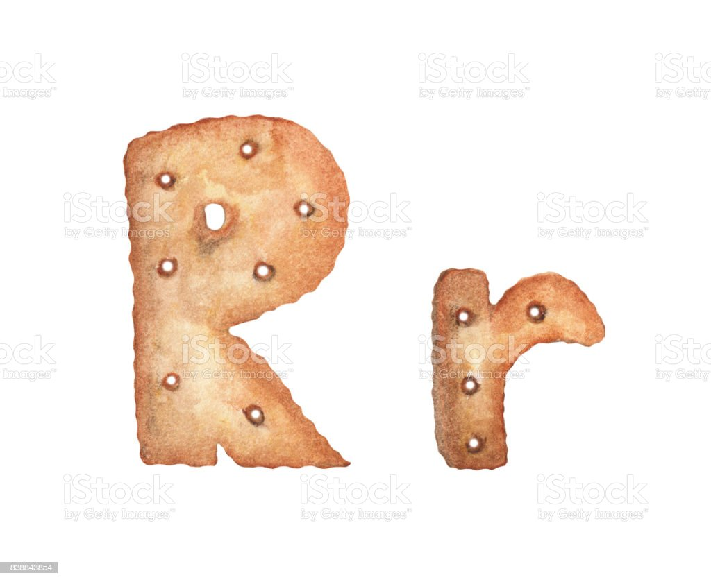 cookie letter r on white background cookie font food sign abc stock
