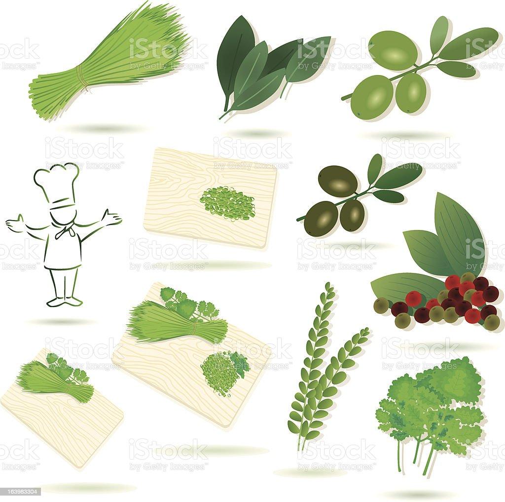 cooking ingredients (mediteran). royalty-free stock vector art