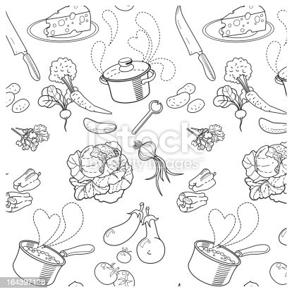 Seamless pattern with cooking soup with fresh vegetables