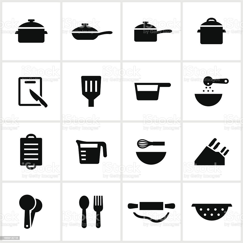 Cooking Utensil Icons vector art illustration
