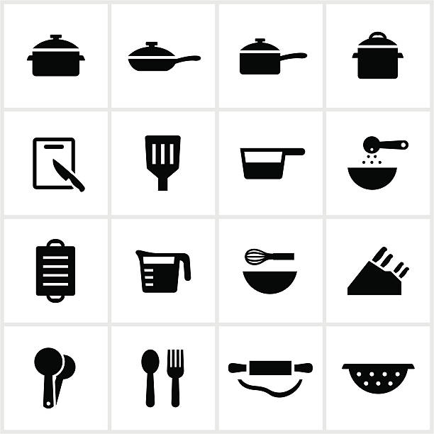 Cooking Utensil Icons Items used for cooking/baking. All white strokes/shapes are cut from the icons and merged allowing the background to show through. measuring cup stock illustrations