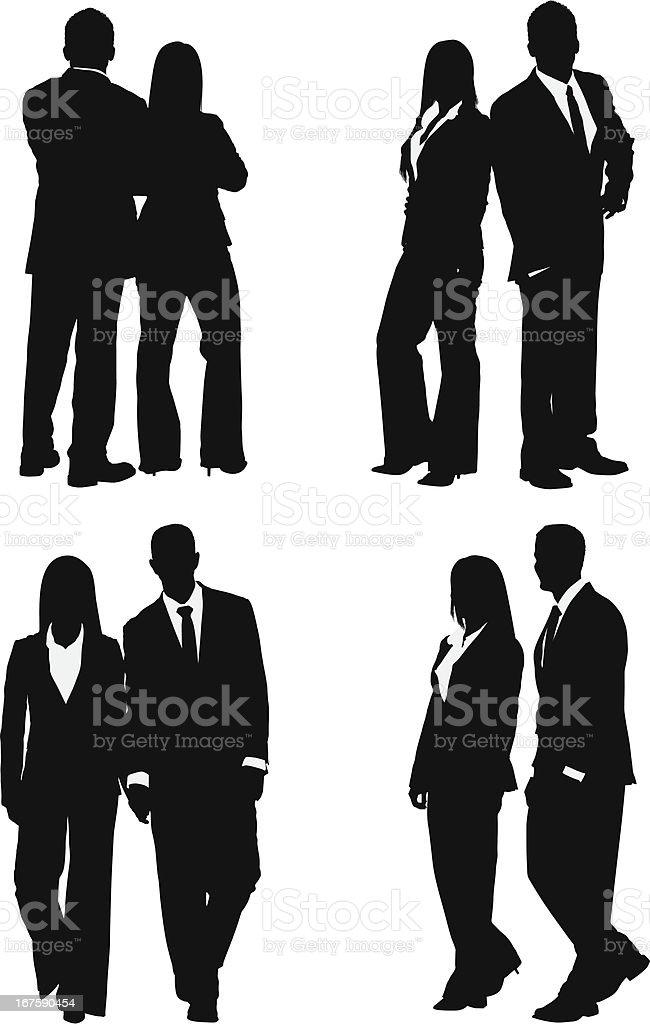 Cool businessman and businesswoman couple vector art illustration
