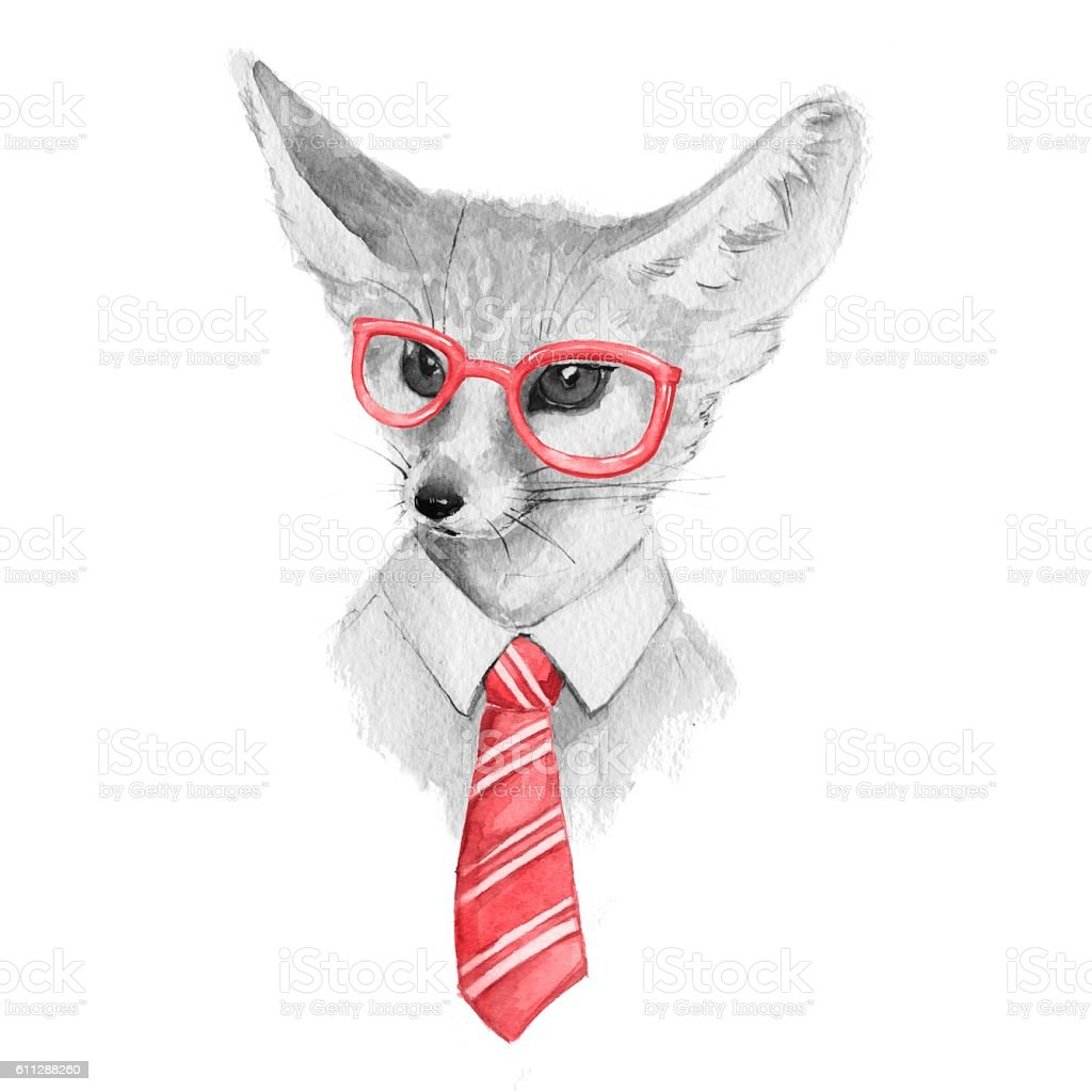 Cool Fox Watercolor Illustration Black And White Stock ...