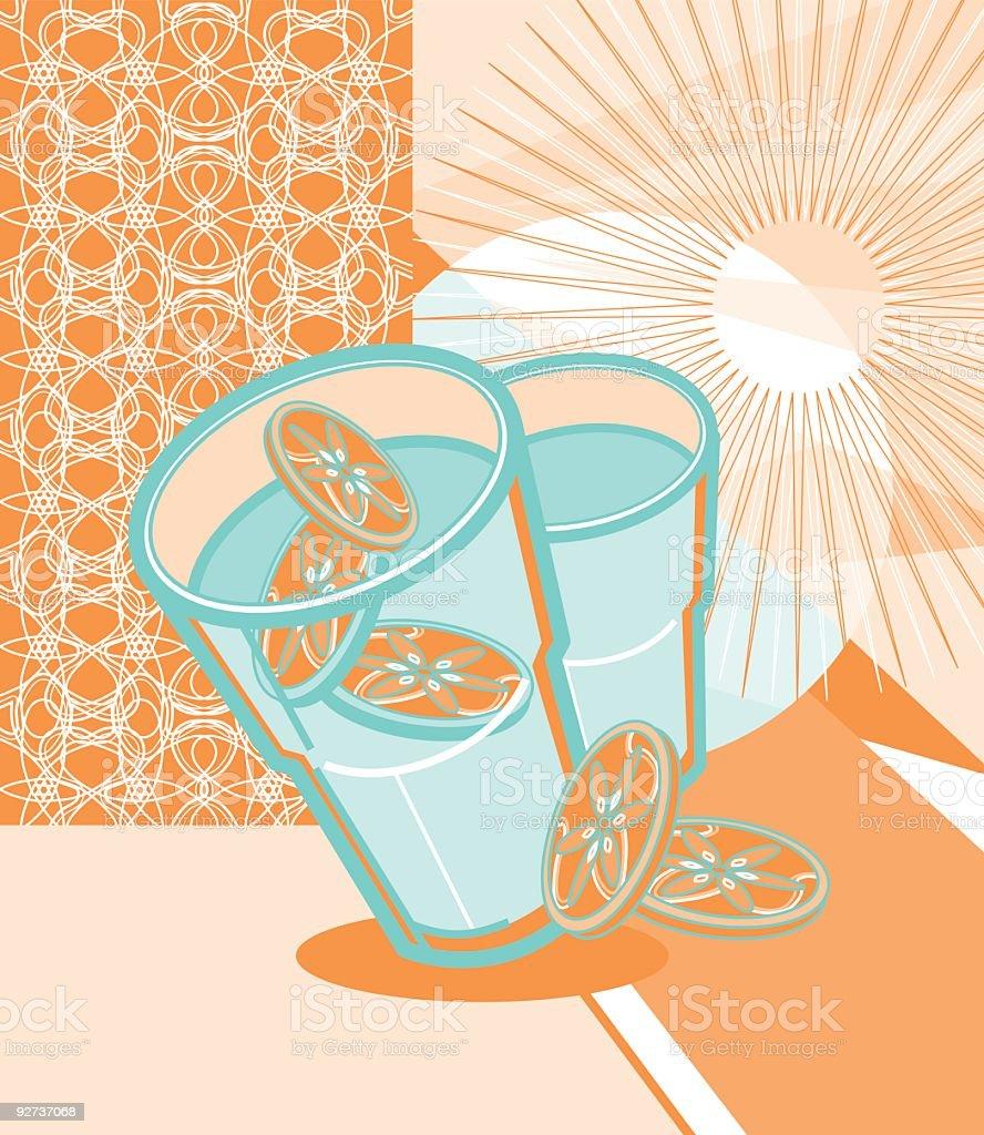 cool lemon drink  Cocktail stock vector