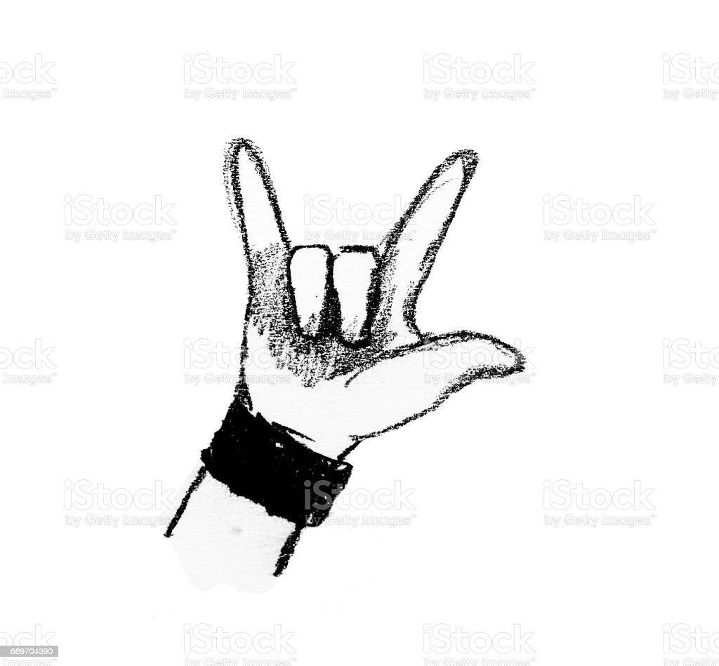 Cool Signe Rock Illustration De Dessin à Main Vecteurs