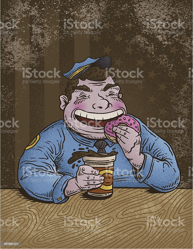 Cop Eating Donut Stock Illustration Download Image Now Istock