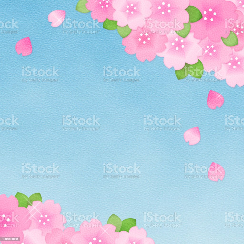 Copy space of cherry blossom and sky vector art illustration
