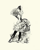 istock Coquettish young woman in short skirt holding a fan, Victorian 1212045417