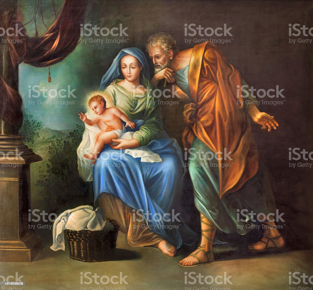 Cordoba - The Holy Family painting vector art illustration