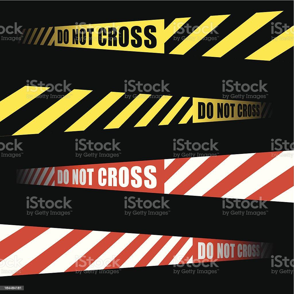 DO NOT CROSS cordon tape vector art illustration
