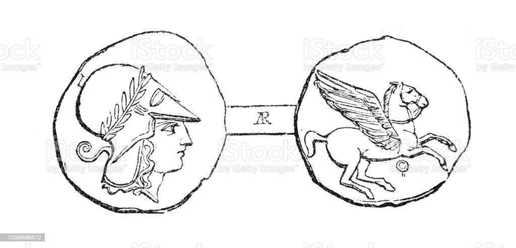 Corinthian Silver Tridrachm Coin (4th Century BC) vector art illustration