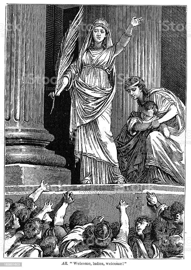 Coriolanus - Welcome, Ladies vector art illustration