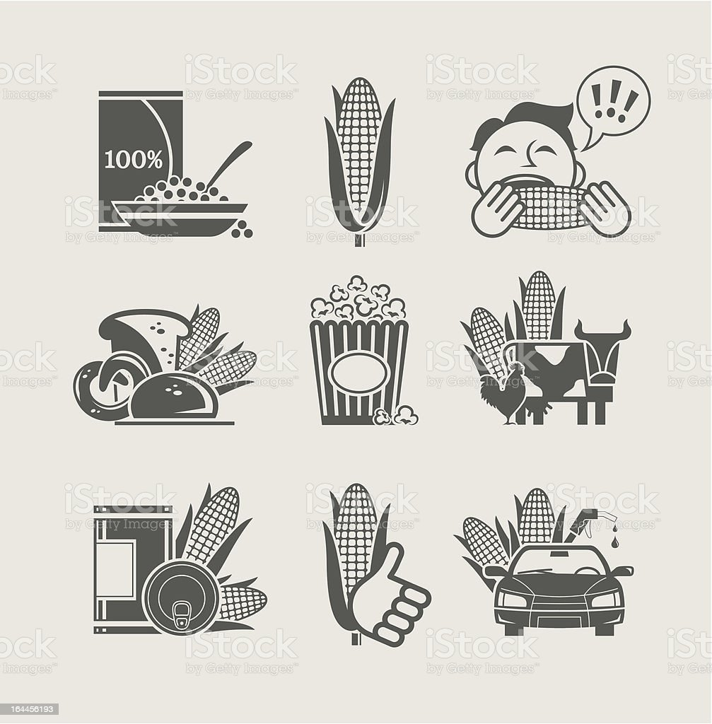 corn and products set icon royalty-free stock vector art