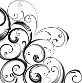 Elegant corner motif swirling design.