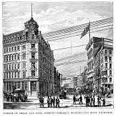 Vintage engraving of the Corner of Broad and Wall Streets, Drexel's building and Stock Exchange, New York. 1882