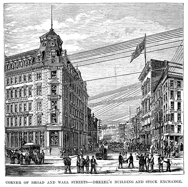 Corner of Broad and Wall Streets Vintage engraving of the Corner of Broad and Wall Streets, Drexel's building and Stock Exchange, New York. 1882 wall street stock illustrations