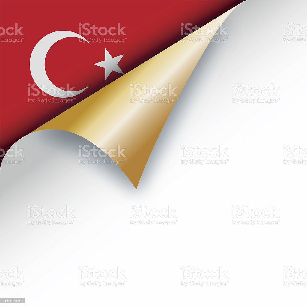 Corner page turn - Turkish flag royalty-free stock vector art