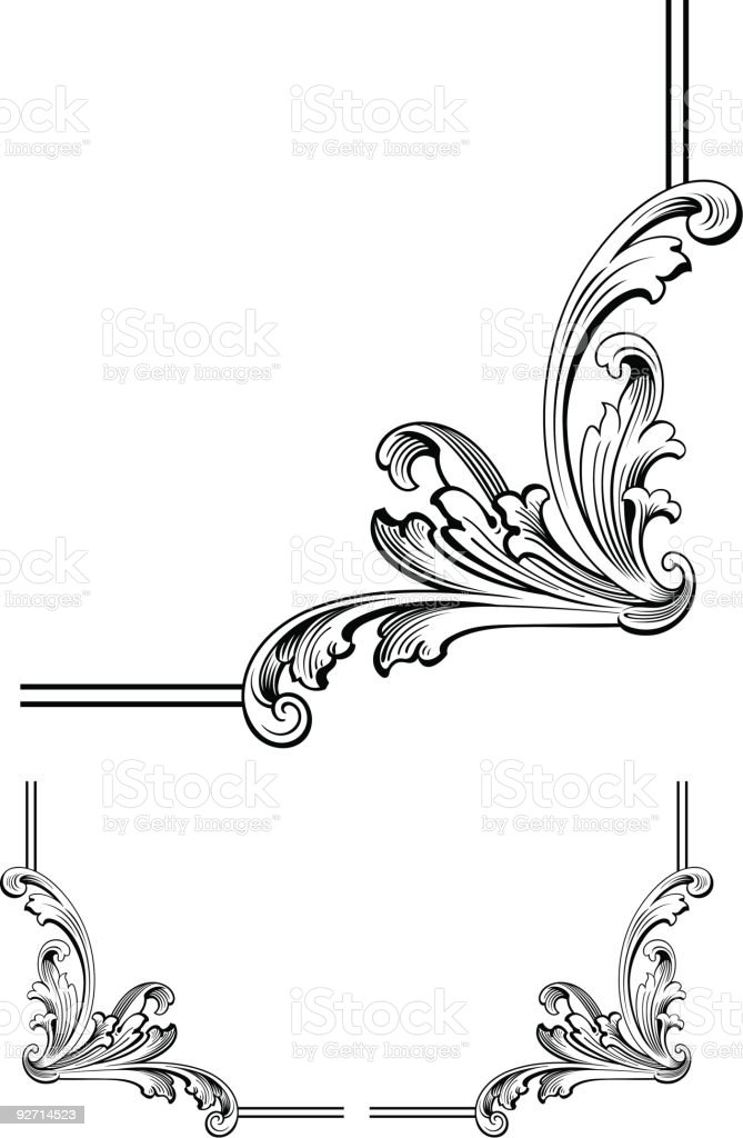 corner scroll design stock vector art more images of angle