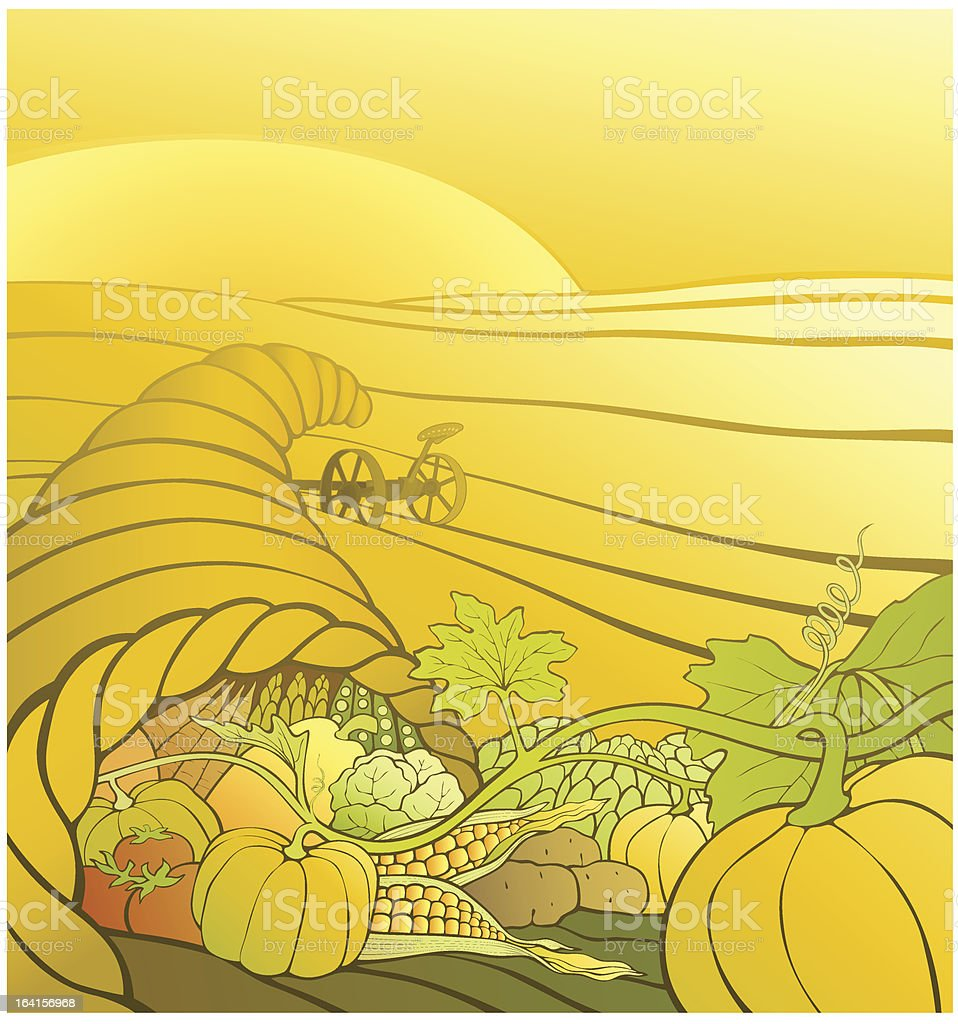 Cornucopia Horn of Plenty with plow in furrowed field royalty-free stock vector art