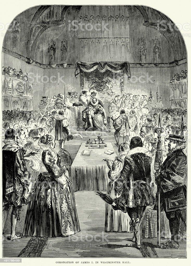 Coronation of James I vector art illustration