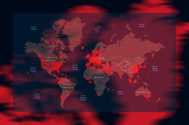 illustrations, cliparts, dessins animés et icônes de les pays et territoires touchés par le coronavirus covid-19 ont touché le monde entier. carte du monde. - covid france
