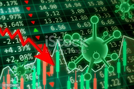 Coronavirus Impact on Stock Market concept. Financial data on a monitor with coronavirus pandemic and red arrow going down. Red and green candle stick graph chart on dark green background