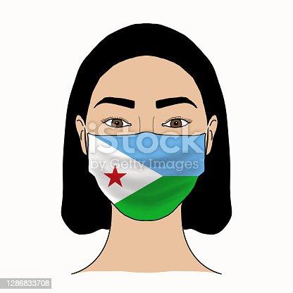 istock Coronavirus mask crisis. Djibouti health system. Flag of Djibouti coronavirus outbreak patterned mask wearing woman. 1286833708