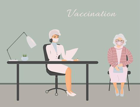 Coronavirus vaccination in doctor office