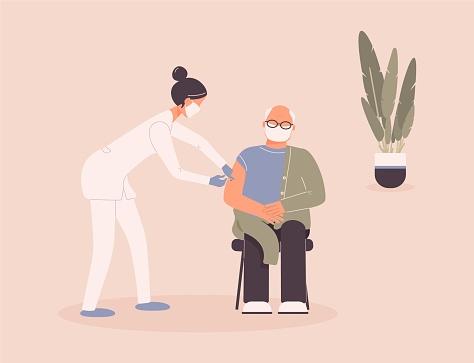 Coronavirus vaccination of patient by doctor