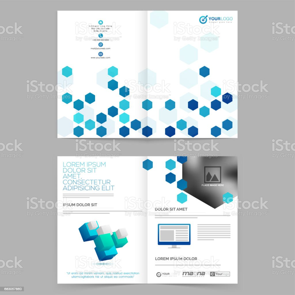 Corporate Brochure, Business Template presentation with abstract hexagonal shapes and space for your image. corporate brochure business template presentation with abstract hexagonal shapes and space for your image - arte vetorial de stock e mais imagens de abstrato royalty-free