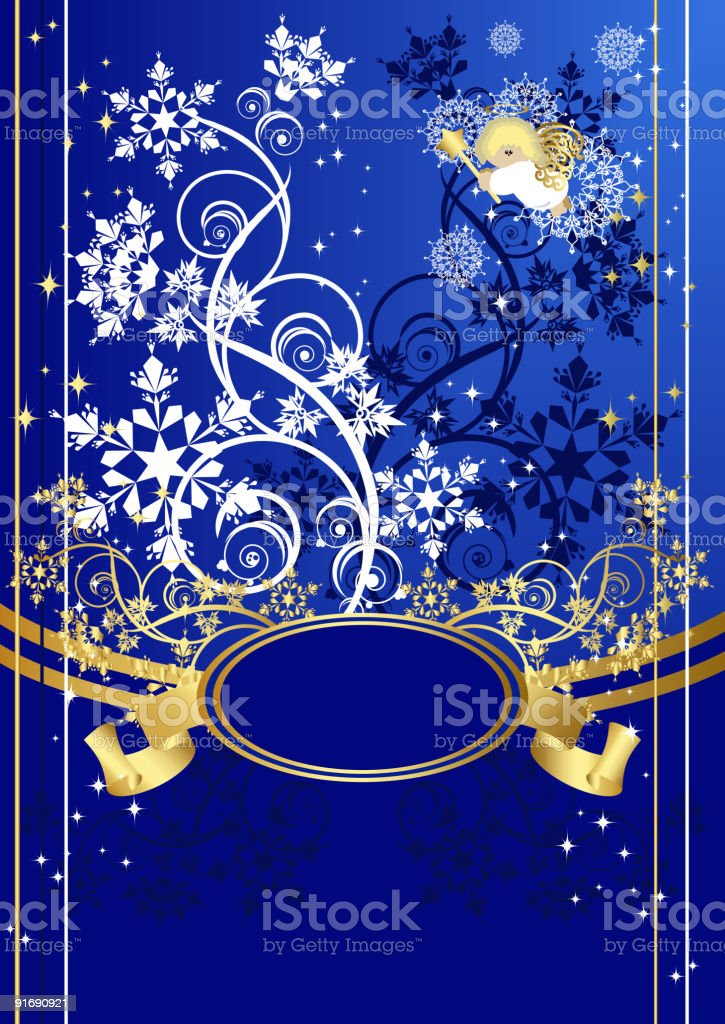 Corporate christmas postal with an angel royalty-free stock vector art