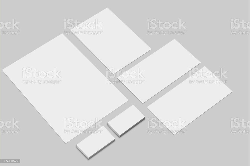 Corporate  Identity Presentation Template. Branding Mockup Set. Letterhead, Envelope and Business Cards Empty Template. – artystyczna grafika wektorowa