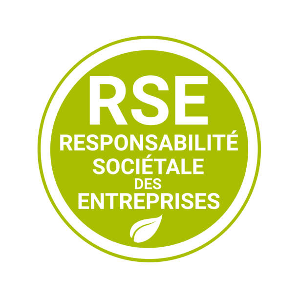 Corporate social responsibility badge called RSE, responsabilite societale entreprise in French Corporate social responsibility badge called RSE, responsabilite societale entreprise in French language corporate responsibility stock illustrations