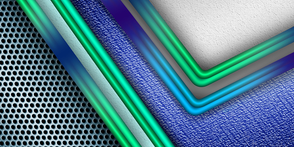 Corporate tech background with shiny decorative lines and circle mesh. Futuristic technology modern banner design.