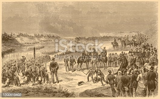 Illustration of a Corps maneuver of the Prussian Guard near Staaken in honor of the emperors of Austria and Russia.