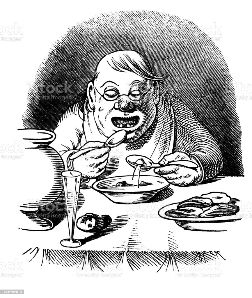 Corpulent hungry man eating a meal at table with two tablespoons. Scene with humor vector art illustration