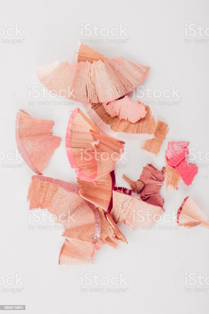 cosmetic pink pencil shavings on white background royalty-free cosmetic pink pencil shavings on white background stock vector art & more images of adult