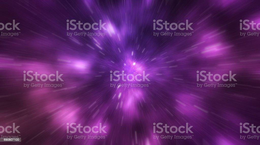 Fondo cósmico de la galaxia nebulosa, stardust y brillantes estrellas brillantes - movimiento blur efecto. - ilustración de arte vectorial