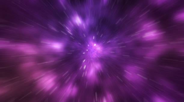 Kosmische Galaxie Hintergrund mit Nebel, Stardust und hell leuchtende Sterne - Bewegung Unschärfe-Effekt. – Vektorgrafik