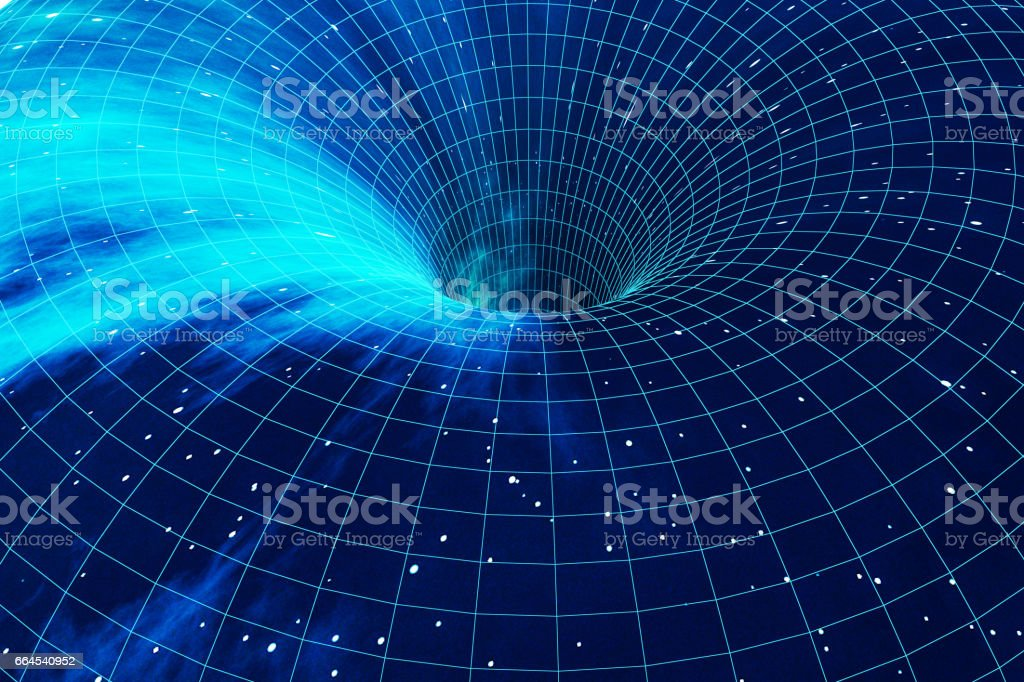 Cosmic wormhole, space travel concept, funnel-shaped tunnel that can connect one universe with another. 3d rendering vector art illustration
