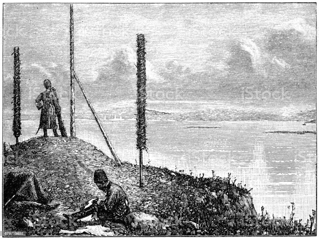 Cossacks outpost cossacks outpost – cliparts vectoriels et plus d'images de 1869 libre de droits