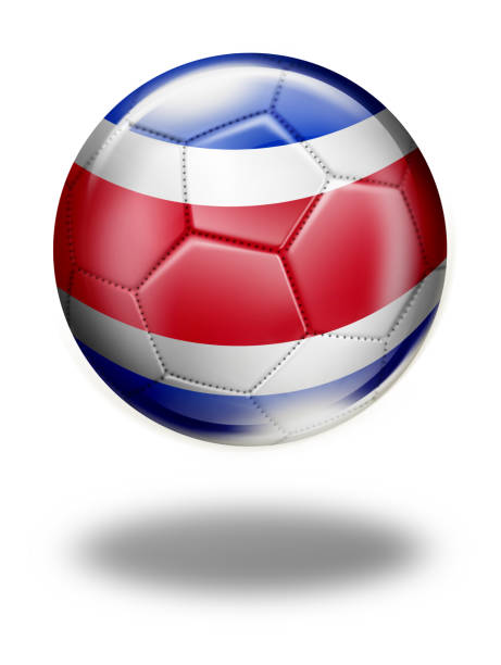 Costa Rica soccer ball with flag isolated on white vector art illustration