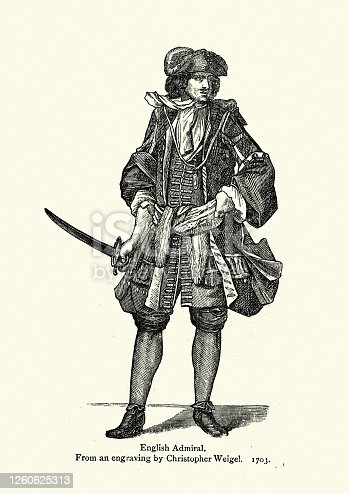 istock Costume of a English Admiral, early 18th Century fashion 1260625313